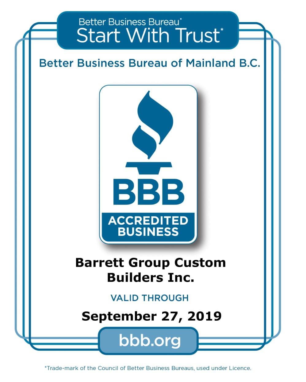better business bureau of mainland bc barrett group. Black Bedroom Furniture Sets. Home Design Ideas